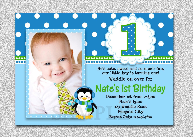 1st Birthday Invitation Ideas for A Boy Penguin Birthday Invitation Penguin 1st Birthday Party Invites