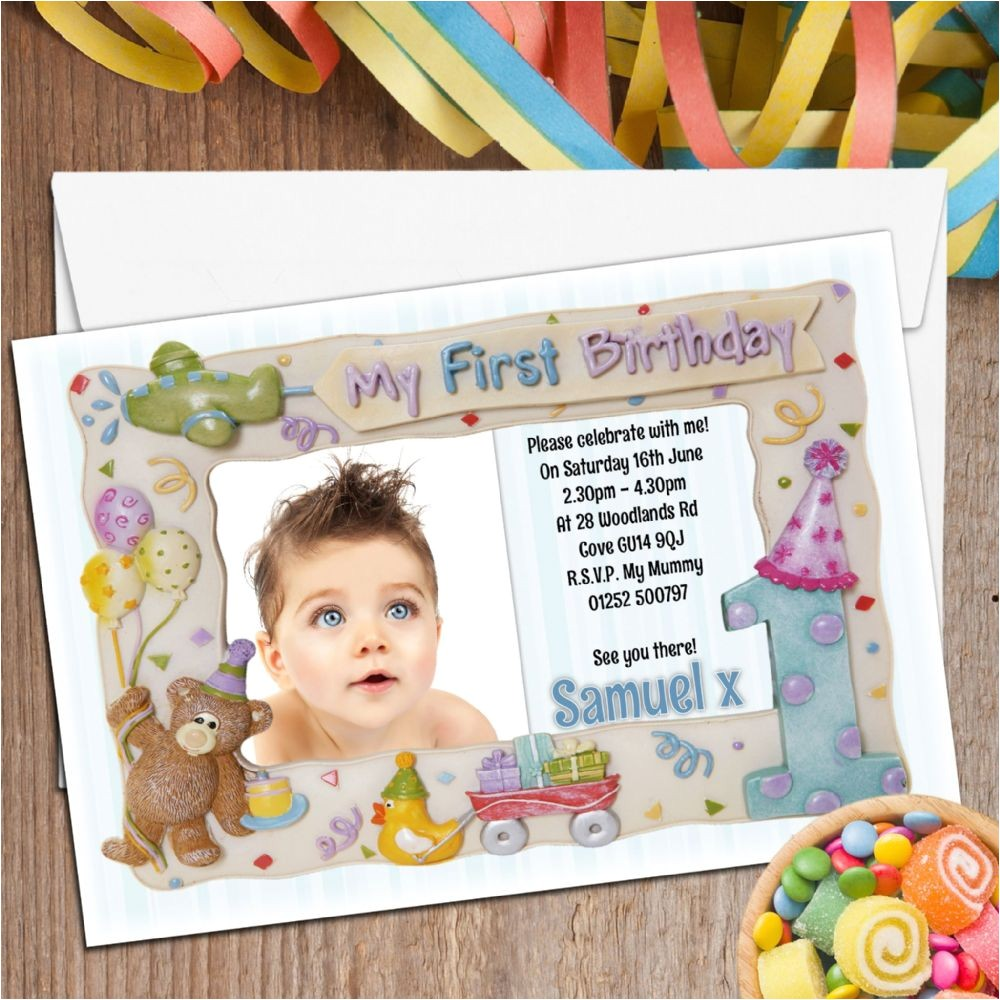 1st Birthday Invitation Photo Frames 10 Personalised First 1st Birthday Party Frame