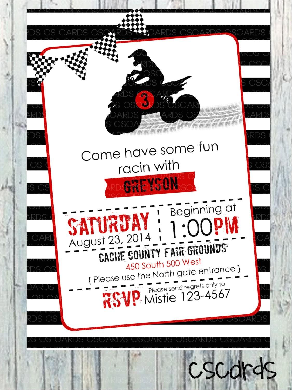 4 Wheeler Birthday Invitations 4 Wheeler atv Birthday Party Invitation Digital by Cscardsshop