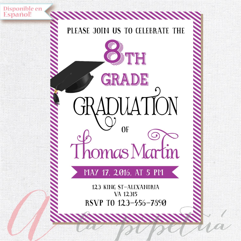 8th Grade Graduation Party Invitation Wording 8th Grade Graduation Invite Printable Graduation Invitation