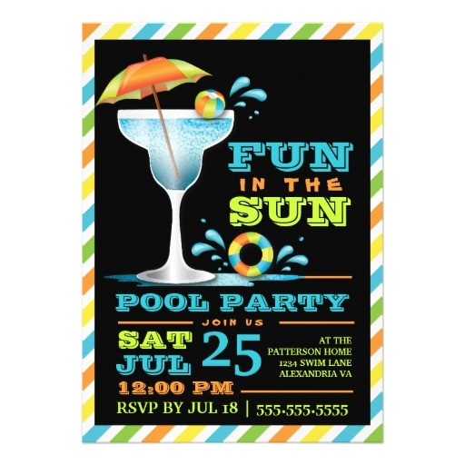 """Adult Pool Party Invitations Adult Fun In Sun Pool Party Cocktail Invitation 5"""" X 7"""