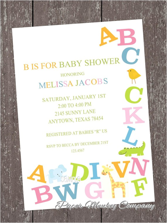 Alphabet Baby Shower Invitations Alphabet Baby Shower Invitations by Paper Monkey Pany