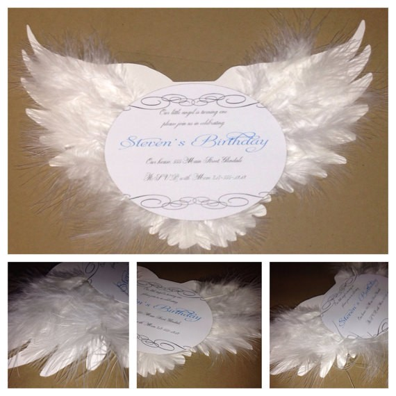 Angel themed Birthday Party Invitations Angel Birthday Invitation Christening Invitation Baptism
