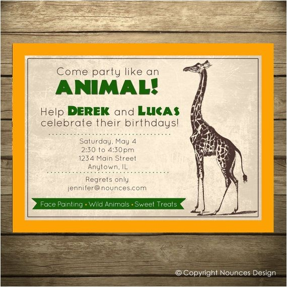 Animal themed Birthday Party Invitation Wording Safari Party Birthday Invitation Zoo theme Wild Animal by