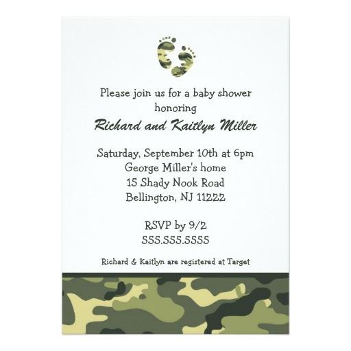 Army Camo Baby Shower Invitations Camo Army Green Baby Feet Shower Invitation