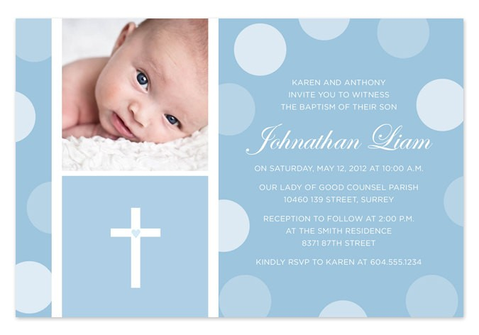 Baby Boy Baptism Invites Blue Baby Boy Baptism Christening Invitation by