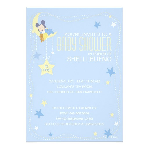 """Baby Mickey Shower Invitations Baby Mickey Mouse Baby Shower 5"""" X 7"""" Invitation Card"""