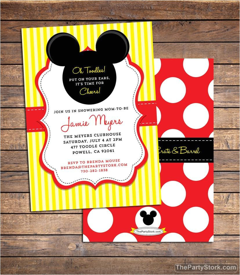 Baby Mickey Shower Invitations Mickey Mouse Baby Shower Invitation Printable Baby Boy or