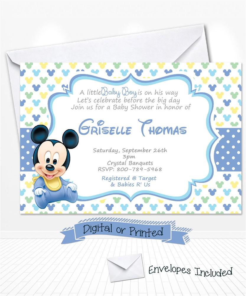 Baby Mickey Shower Invitations Printed Baby Mickey Mouse Baby Shower Invitations Baby