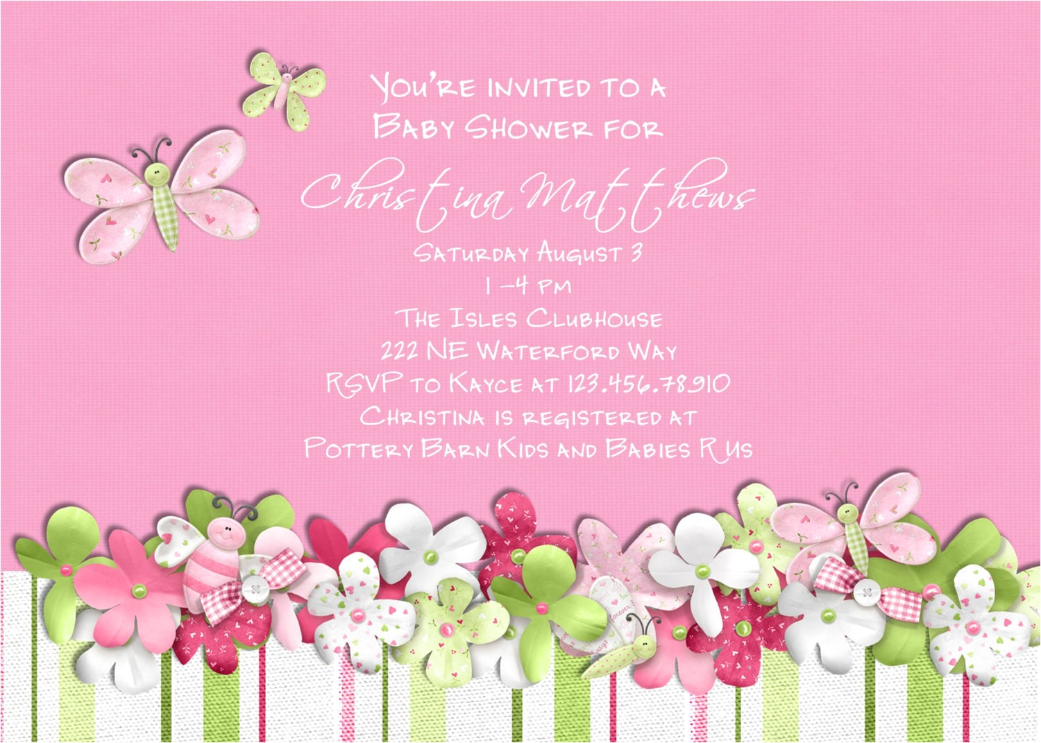 Baby Shower Invitations with butterflies Pink butterfly Baby Shower Invitation Baptism or by