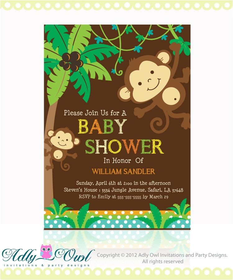 Baby Shower Invitations with Monkeys Personalized Jungle Monkeys Baby Shower Printable Diy