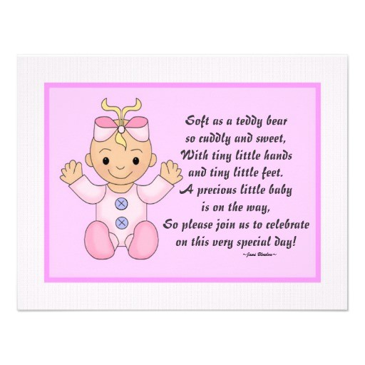 "Baby Shower Invite Poem Girl Personalized Baby Shower Invitations Baby Girl 4 25"" X 5 5"
