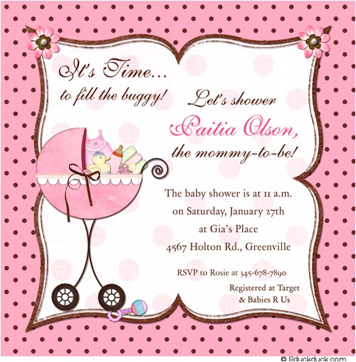 Baby Showers Invitation Cards Frilly Pink Buggy Shower Invitation Baby Pink & Chocolate