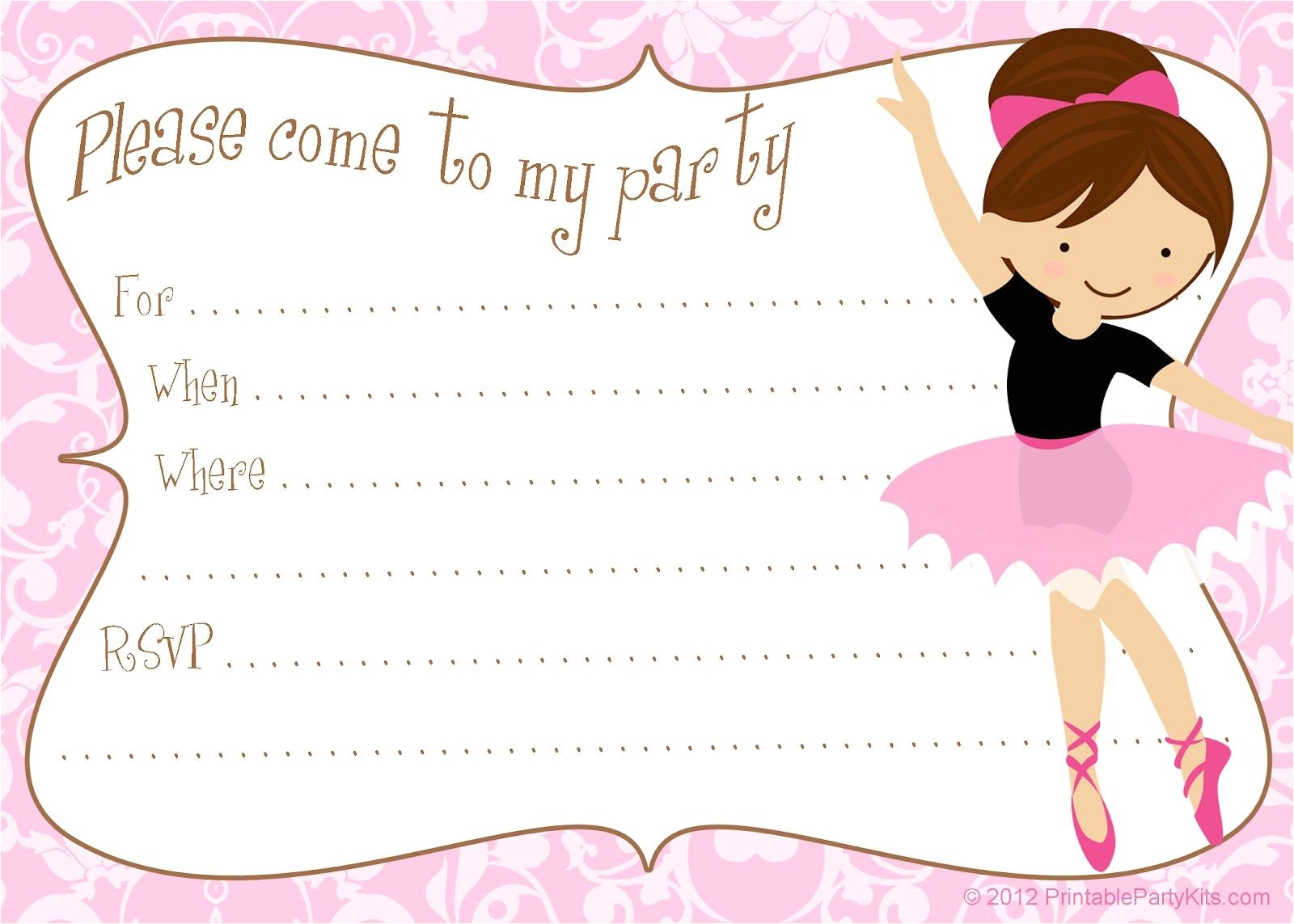 Ballerina Birthday Invitations Free Printable Free Diy Ballerina Party Invitations