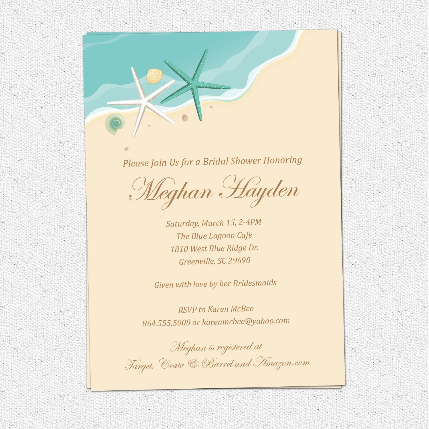 Beachy Bridal Shower Invitations Beach Bridal Shower Invitations Beach themed Bridal