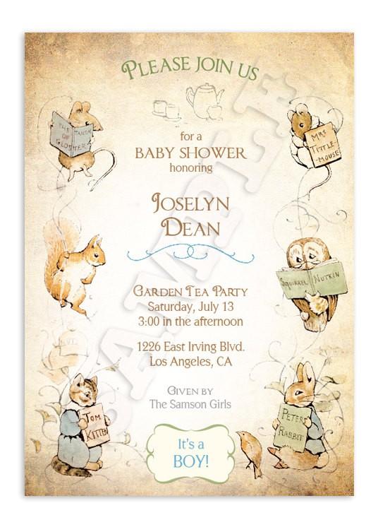 Beatrix Potter Baby Shower Invitations Beatrix Potter Baby Shower Invitation