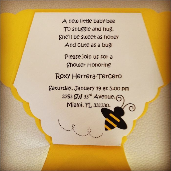 Bee themed Baby Shower Invites Baby Shower Invitations Bee theme