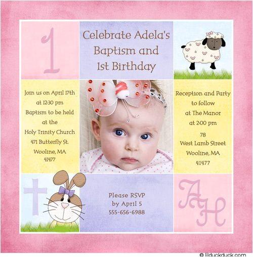 Birthday and Baptismal Invitation Wordings 1st Birthday and Christening Baptism Invitation Sample