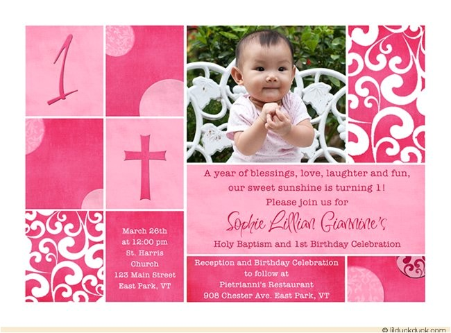 Birthday and Baptismal Invitation Wordings First Birthday and Baptism Invitations