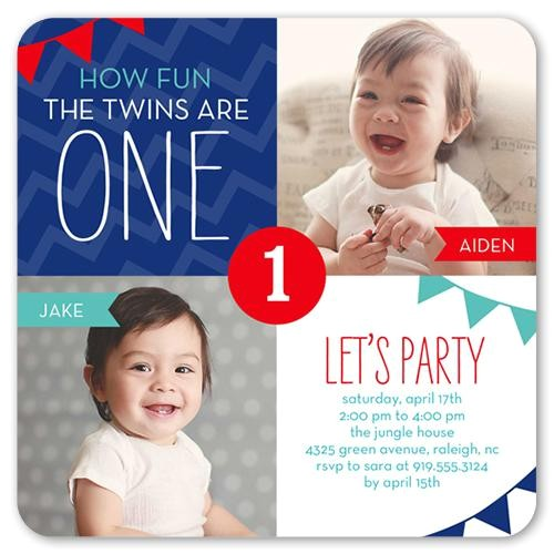 Birthday Invitation Cards for 1 Year Old Twins 12 Twin Birthday Invitations Templates Free Sample