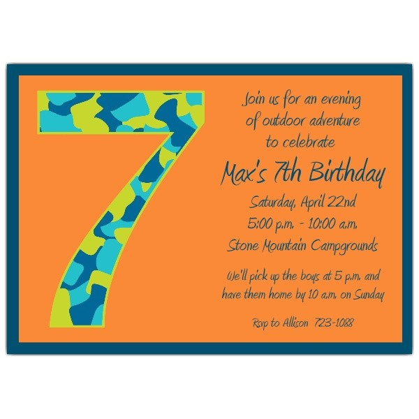 Birthday Invitation Wording for 7 Year Old Boy Birthday Boy Camo 7th Birthday Invitations