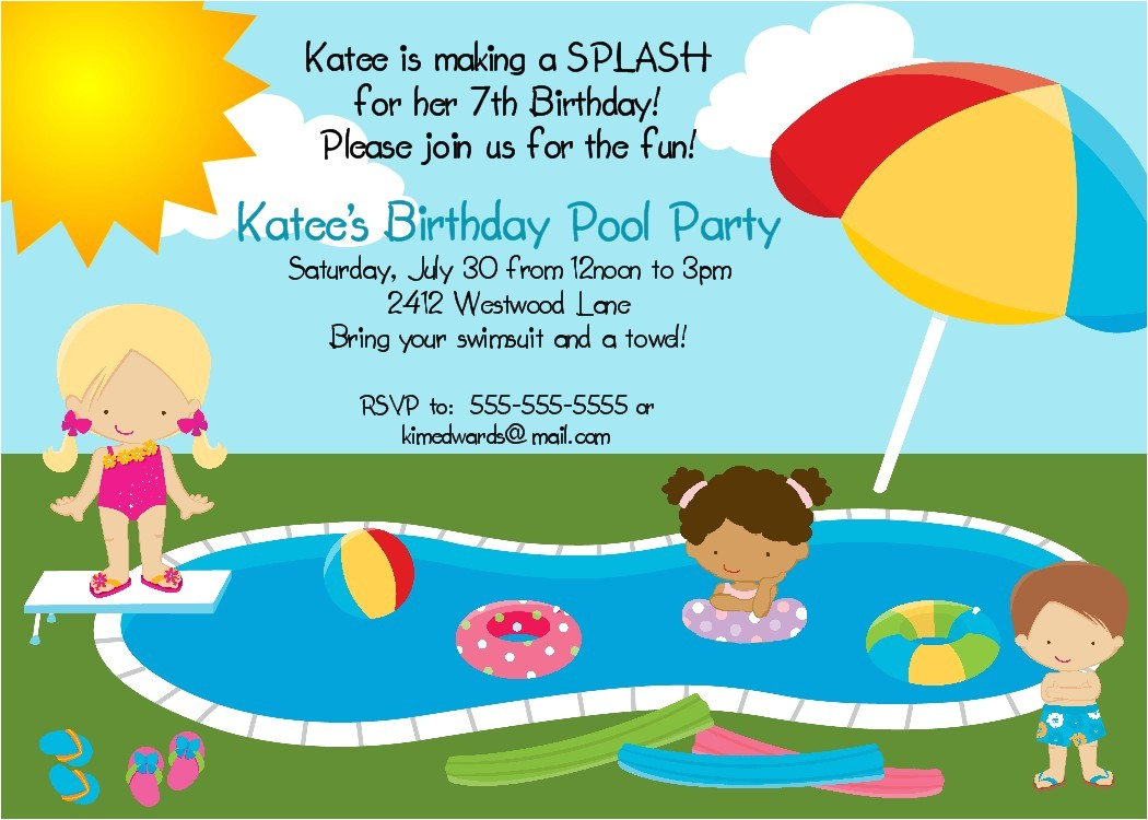 Birthday Pool Party Invitation Wording Bear River Greetings Pool Party Birthday Invitation