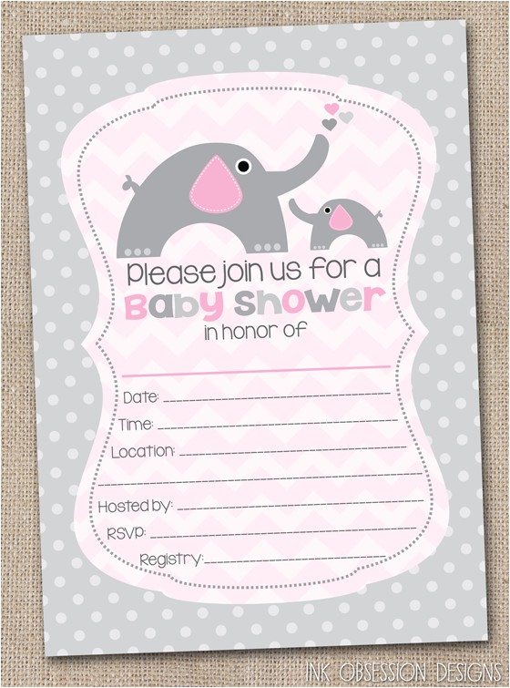 Blank Baby Shower Invites Ink Obsession Designs Fill In the Blank Elephant Baby