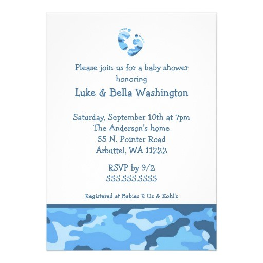 """Blue Camo Baby Shower Invitations Camo Blue Baby Feet Shower Invitation 5"""" X 7"""" Invitation"""