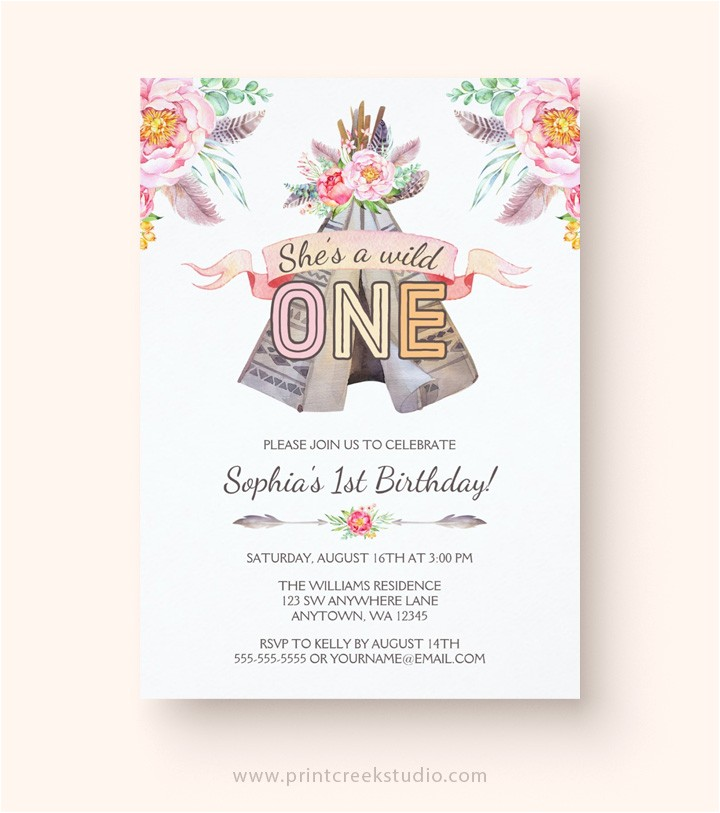Boho Chic Birthday Invitations Boho Chic Tribal Teepee Girl Birthday Invitations Print