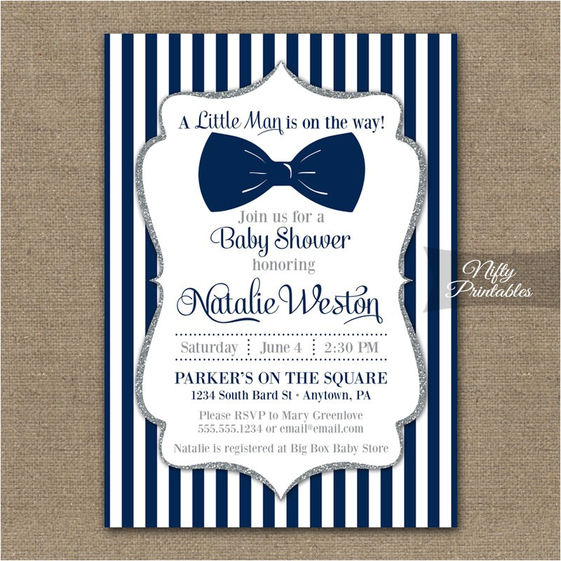 Bow Tie themed Baby Shower Invitations Bow Tie Baby Shower Invitations Printable Navy Blue & Silver