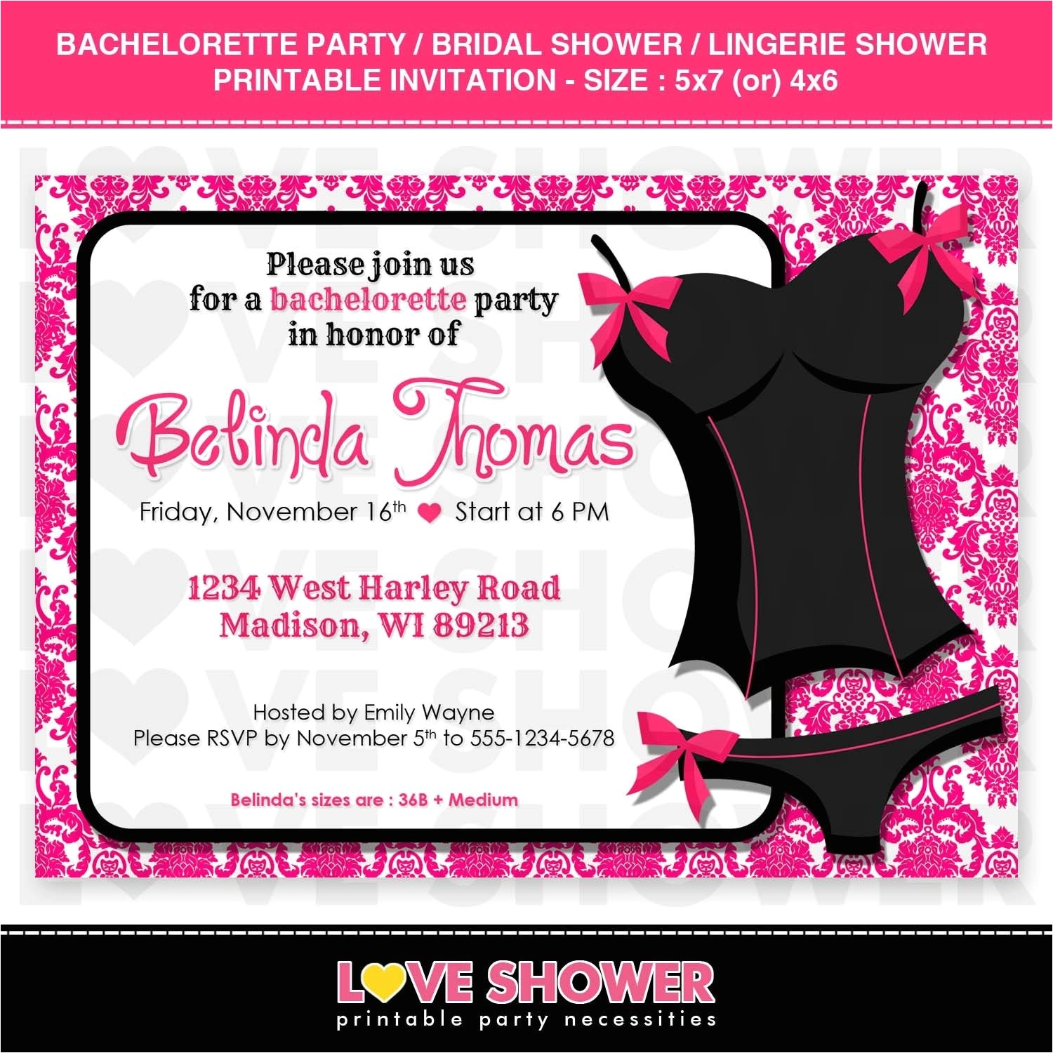 Bridal Shower and Bachelorette Party Invitations Lingerie Bridal Shower Invitations Template Resume Builder