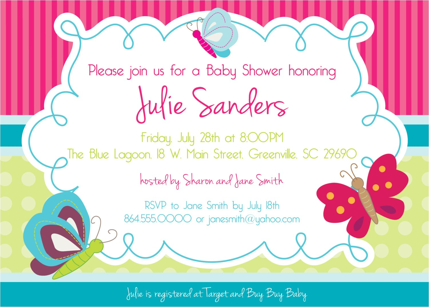 Butterfly Baby Shower Invites Design butterfly Baby Shower Invitations