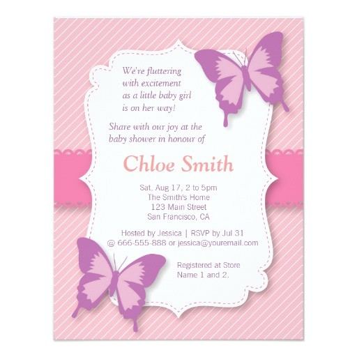 Butterfly Baby Shower Invites Elegant Purple butterfly Baby Shower 4 25×5 5 Paper
