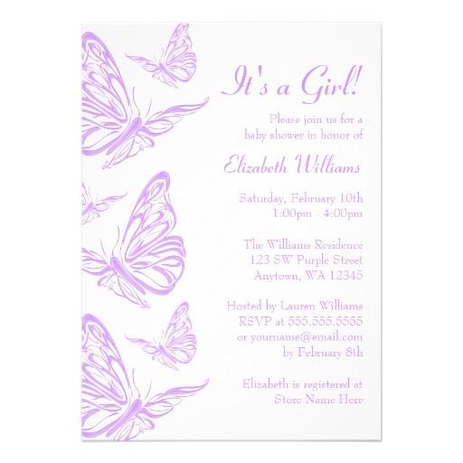 "Butterfly Baby Shower Invites Pretty Purple butterfly Baby Shower Invitations 5"" X 7"