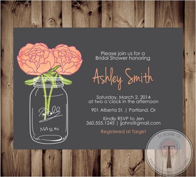 Chalkboard Mason Jar Bridal Shower Invitations Mason Jar Invitation Bridal Shower Invitation Wedding