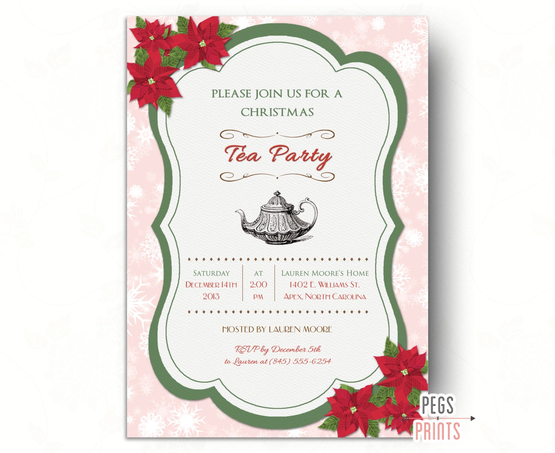 Christmas Tea Party Invitations Free Christmas Tea Party Invitation Printable Holiday by