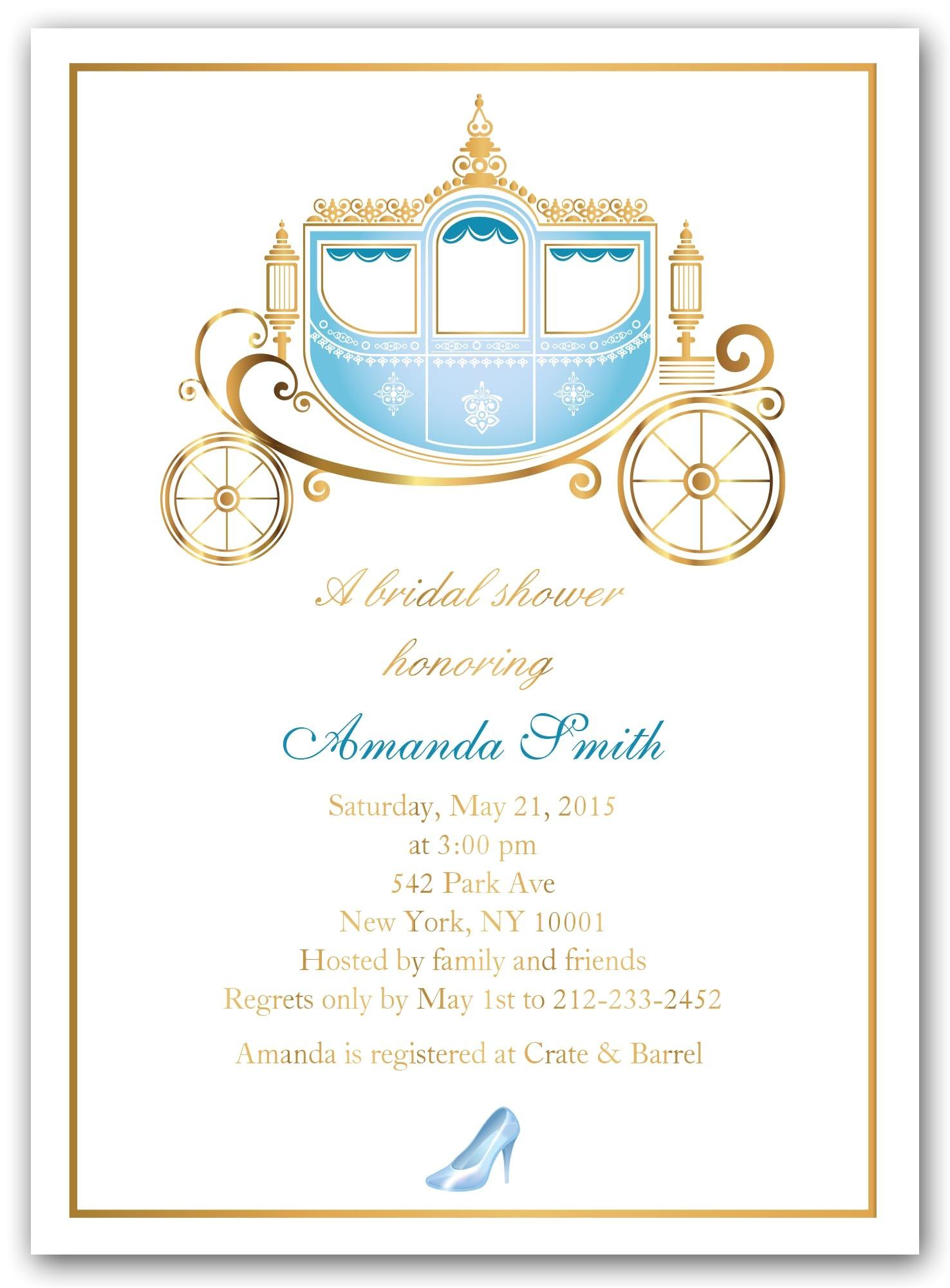 Cinderella themed Bridal Shower Invitations Bridal Shower Invitations Bridal Shower Invitations