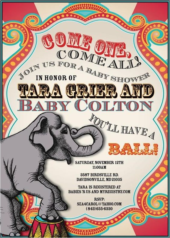 Circus themed Baby Shower Invitations Circus themed Baby Shower Invite