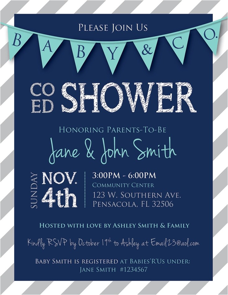 Co-ed Baby Shower Invite Co Ed Baby Shower Flags and Stripes Invitation Navy