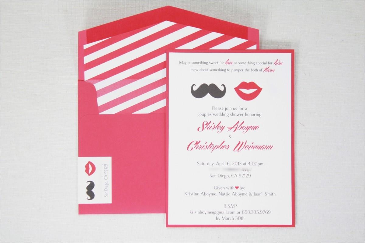Co-ed Bridal Shower Invitations Co Ed Bridal Shower Invitations Mustache & Lips