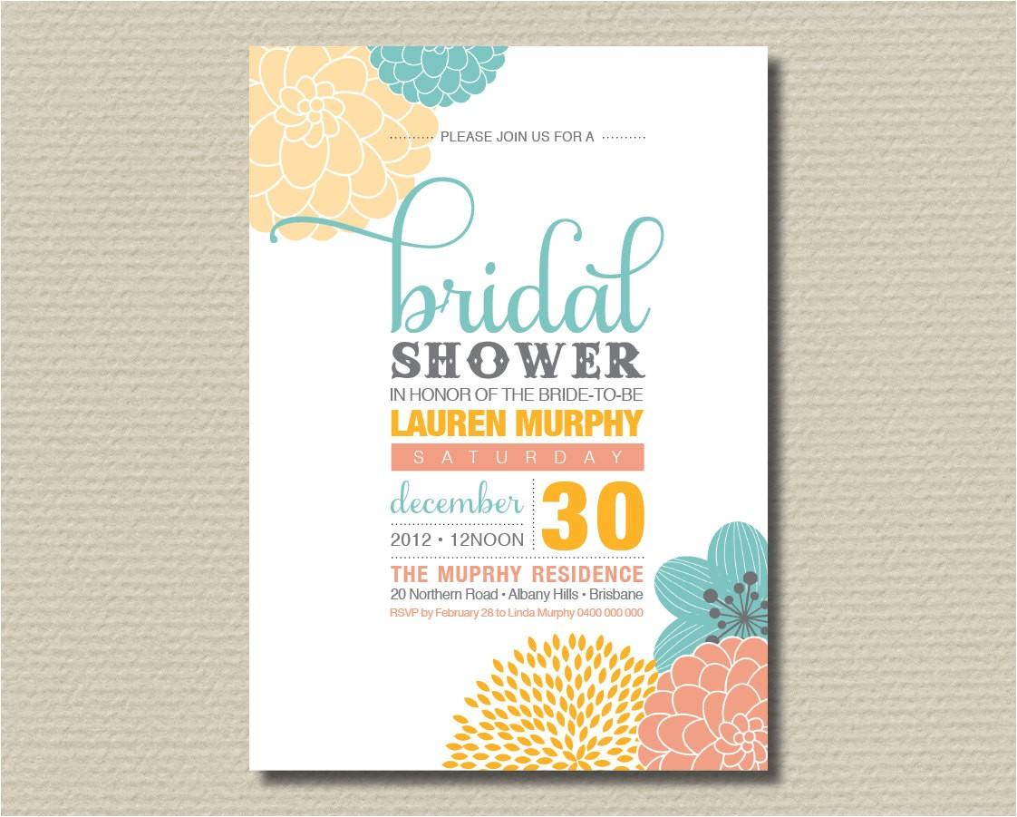 Contemporary Bridal Shower Invitations Printable Bridal Shower Invitation Modern by Rosiedaydesign