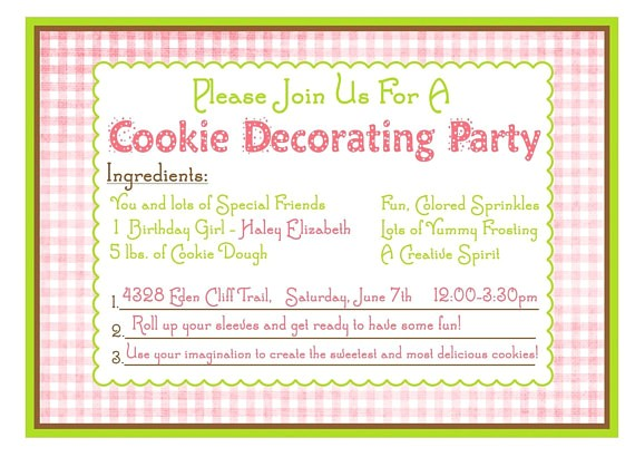 Cookie Decorating Party Invitation Wording Cookie Decorating Birthday Party by Littlebeaneboutique On