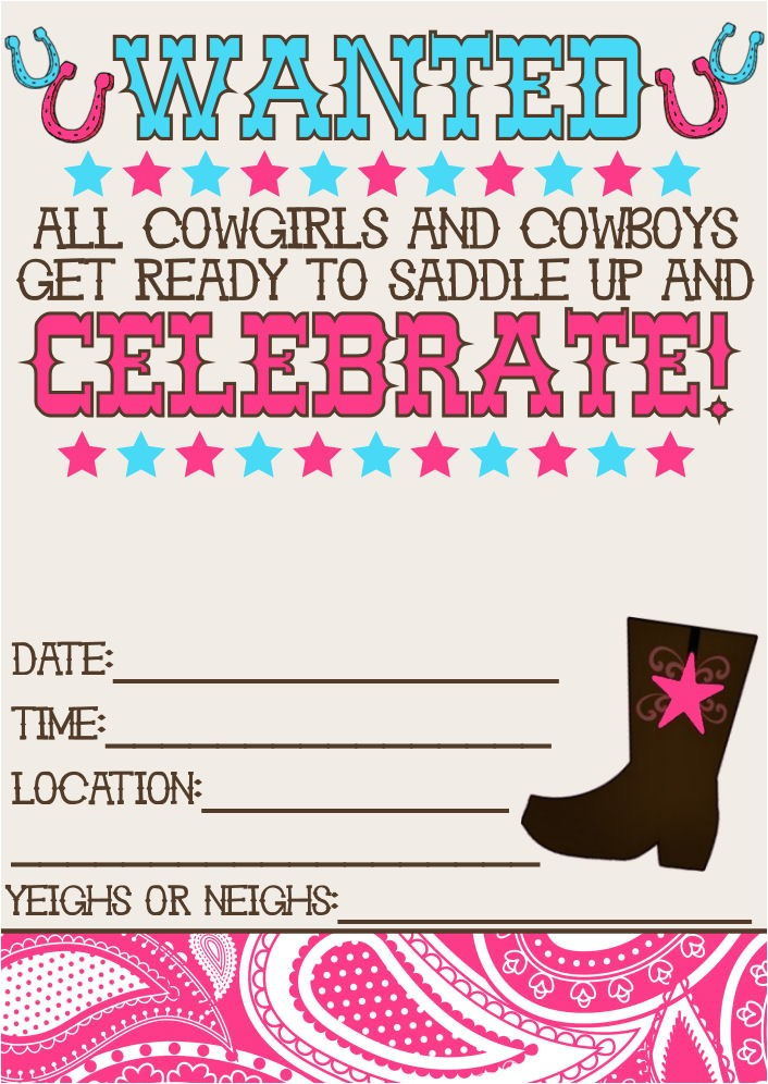 Cowgirl Birthday Invitations Templates 8 Best Of Printable Western Birthday Invitations