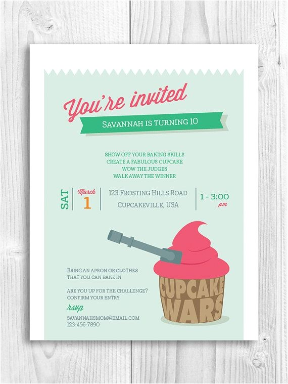 Cupcake Wars Birthday Party Invitations Cupcake Printable Invitation Cupcake Wars Baking Party