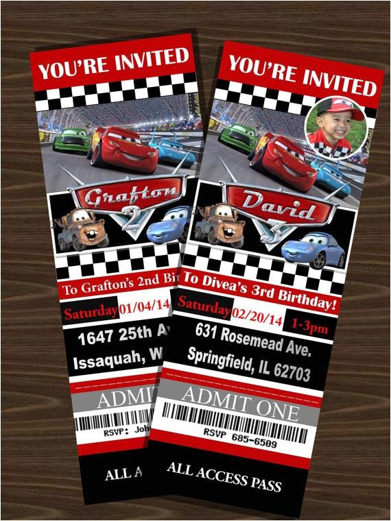 Disney Cars Birthday Invitations Tickets Disney S Cars Ticket Invitations with or without by