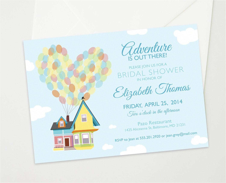 Disney Up Bridal Shower Invitations Disney Up Wedding Bridal or Baby Shower Custom by theinkedleaf