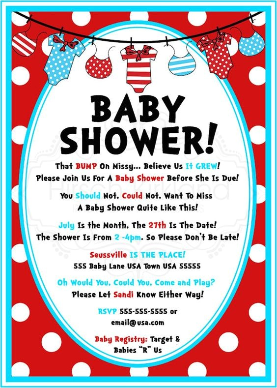 Dr Suess Baby Shower Invites so Cute Dr Seuss Baby Shower Invitation by