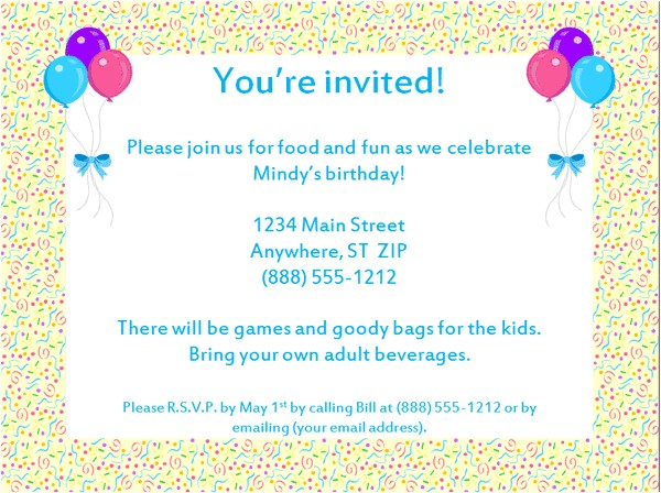 Email Birthday Invitations with Photo Party Invitations Very Best Email Party Invitations