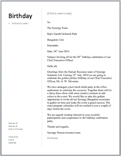 Example Of An Invitation Letter to A Birthday Party Birthday Invitation Letter Free Sample Letters