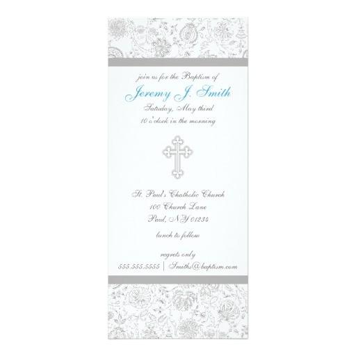 "Fancy Baptism Invitations Boy Elegant Cross Christening Invitations 4"" X 9 25"